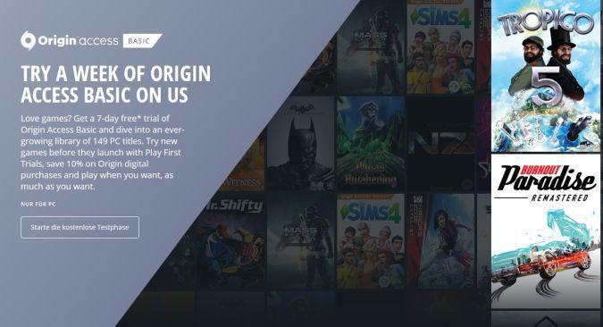 7 Tage Origin Access gratis testen