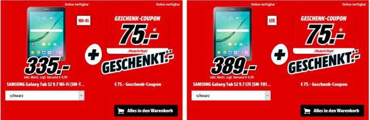 Media Markt Eier Feier: günstige Mega Osterangebote im Bundle   z.B. SAMSUNG Galaxy Tab S2 9.7 Zoll Tablet für 335€  +75€ Geschenk Coupon