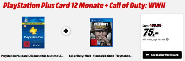 PlayStation Plus Card 12 Monate + Call of Duty: WWII für 75€ (statt 97€) uvm. im Media Markt Dienstag Sale
