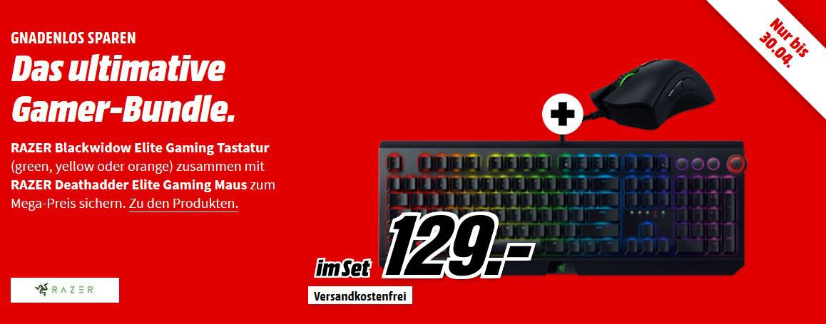 Top! Razer Blackwidow Chroma V2 + Razer Deathadder Elite im Set für 129€ (statt 210€)