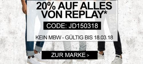 Jeans direct mit 20% Rabatt auf Replay Fashion ab 40 MBW