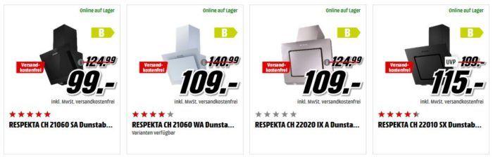 MM Preishammer: Respekta Dunstabzugshaben ab 99€