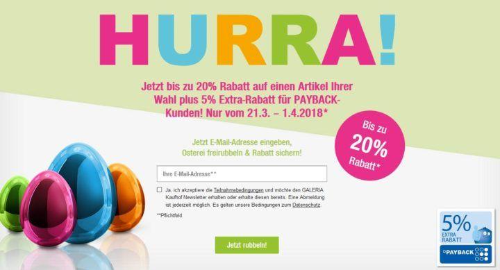 Galeria Kaufhof: Oster Rubbeln mit bis zu 20% + 5% extra Payback Rabatt  auf einen Artikel nach Wahl bis Mitternacht!