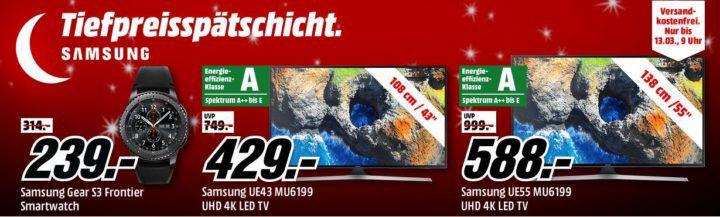 Media Markt Samsung Tiefpreisspätschicht :  günstige Fernseher, Smartwatches & VR, Monitor & Tablets
