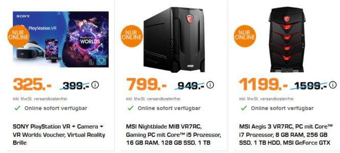 Saturn Weekend Sale: z.B. SONY PlayStation VR + Camera + VR Worlds Voucher, Virtual Reality Brille für 325€