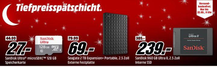 Media Markt Speicher Tiefpreisspätschicht   günstige Festplatten & Co. z.B. SEAGATE 2 TB Expansion+ Portable  Externe Festplatte für 69€
