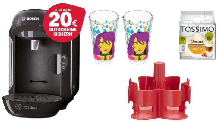 Bosch TASSIMO VIVY Kapselmaschine + Latte Macchiato Kapseln + 2 Ritzenhoff Gläser + Dispenser für 39,99€ + 20€ Kapsel Gutschein