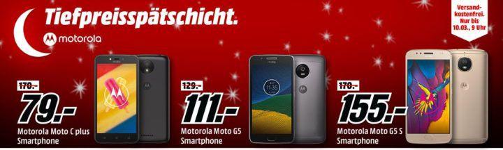 Media Markt Motorola Tiefpreisspätschicht   günstige Smartphones + gratis Zubehör