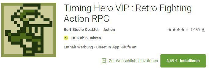 Timing Hero VIP : Retro Fighting Action RPG (Android) gratis statt 3,69€