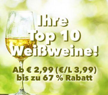 Weinvorteil mit bis zu 66% Rabatt auf Top Ten der beliebtesten Weine   z.B.  Calle Principal ab 3,99€