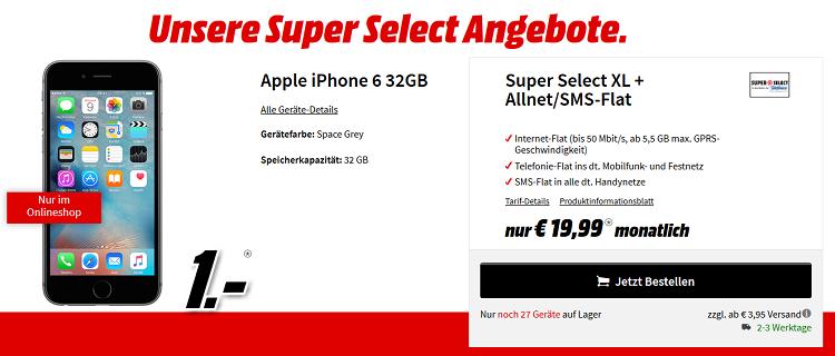 Super Select XL mit 5,5 GB + Allnet Flat für 21,24€ mtl. mit verschiedenen Smartphones ab 1€