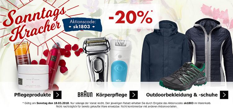 Karstadt Sonntags Kracher mit 20% Rabatt auf Outdoor Kleidung und ausgewählte Pflegeprodukte