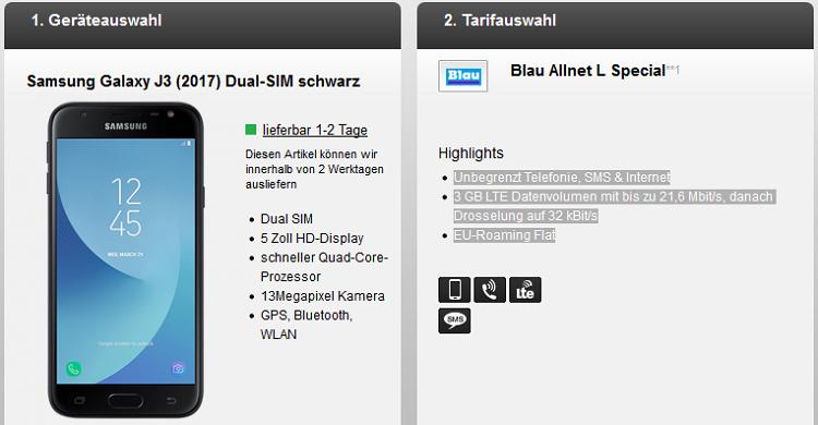 Samsung Galaxy J3 (2017) für 4,95€ + Blau Allnet L mit 3 GB LTE für 12,49€ mtl.