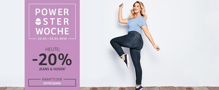 20% Rabatt auf Jeans und Hosen bei sheego