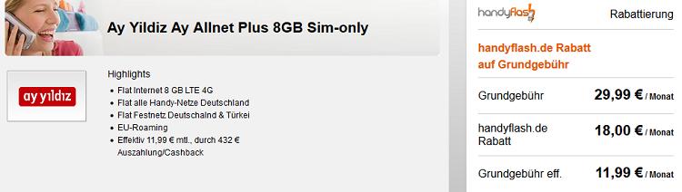 Ay Yildiz Ay Allnet Plus mit 8GB LTE für 11,99€ mtl. dank Cashback