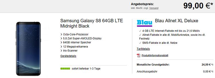 Samsung Galaxy S8 für 99€ + o2 Allnet Flat XL Deluxe mit 4GB LTE für 24,99€ mtl.