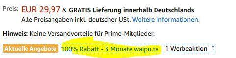 Schnell! 3 Monate waipu.TV (Fernsehen über Internet) kostenlos (sonst 30€)