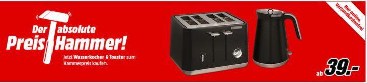 Morphy Richards Wasserkocher für 39€ oder 4 Schlitz Toaster für 43€