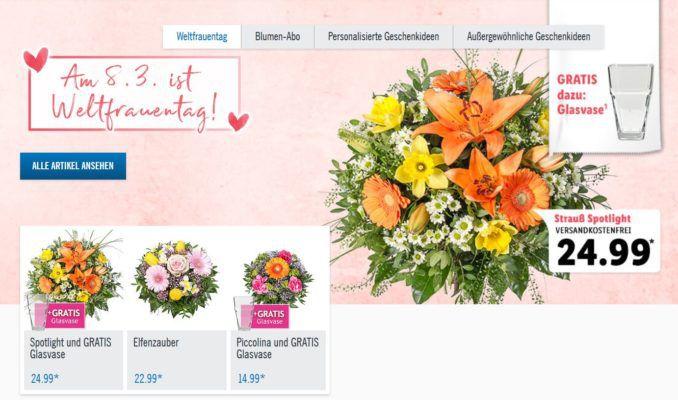 Lidl Online: Blumensträuße zum Weltfrauentag inkl. gratis Vase ab 14,99€ +VSK frei