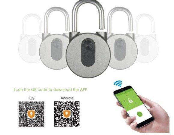 Vorhängeschloss mit Bluetooth, Fingerabdruck & App Steuerung für 22,53€