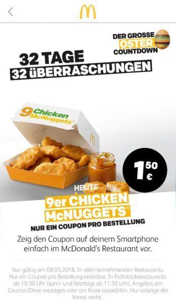 Info: McDonalds Oster Countdown   heute 9er Chicken McNUGGETS für nur 1,50€!