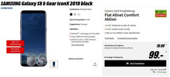 Top! Samsung S8 + Gear IconX für 99€ (Wert 687€) + Vodafone Allnet Flat + 1GB Daten für 19,99€ mtl.