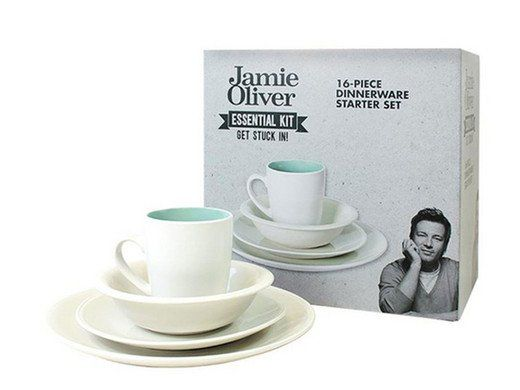 Jamie Oliver: 16 teiliges Tafelgeschirr Set (Essential Kit   Dinnerware Starter Set) für 25,90€