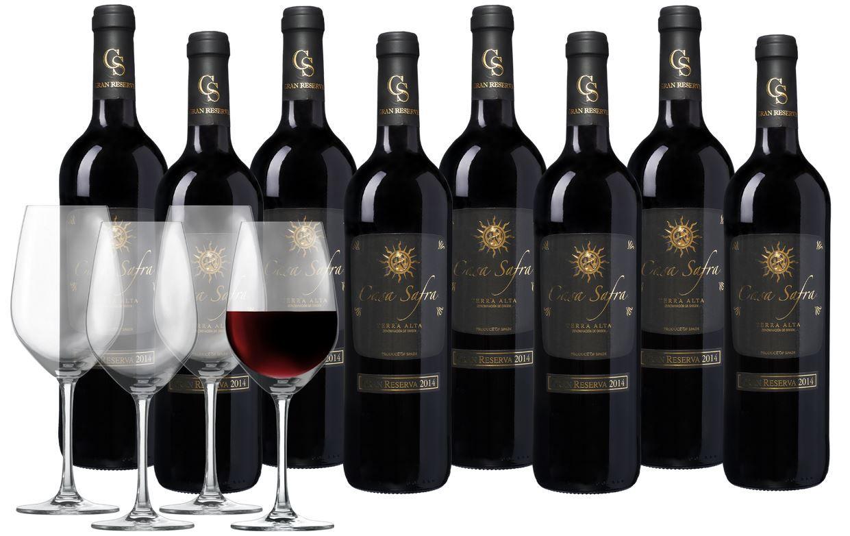 Casa Safra Terra Alta GR Rotwein 8 Flaschen + 4 Schott Zwiesel Weingläser für nur 44,99€