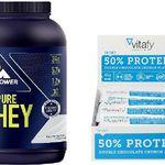 1 x 100% Pure Whey Protein Natural (900g) + 1 x Vitafy Essentials 50% Protein Riegel (12x45g) für nur 28,09€