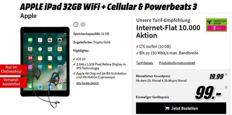 iPad 32GB WiFi & LTE + Beats Powerbeats 3 für 99€ + 10GB Telekom LTE Datentarif für 19,99€ mtl.