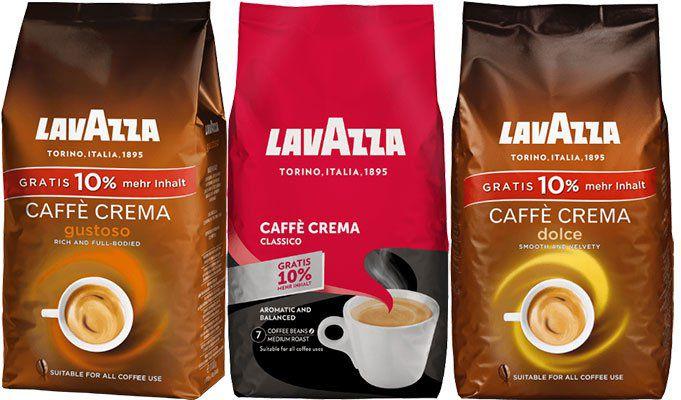 Verschiedene Lavazza Kaffeebohnen mit je 1kg + 10% mehr Inhalt ab 9€