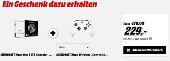 MICROSOFT Xbox One S 1TB Konsole   Sea of Thieves Bundle +  MICROSOFT Wireless Controller für 229€ (statt 278€)