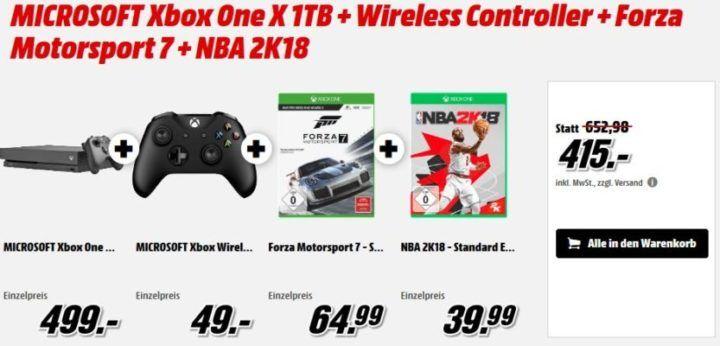 XBox One X 1TB + Forza Motorsport 7 + NBA 2K18 + Wireless Controller für 415€