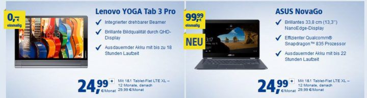 Huawei M5 Pro + Keyboard Cover (Wert 658€) mit 5 GB LTE (max. 225MBit/s) für 28,74€ mtl. + andere Top Tablets
