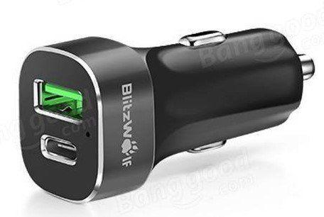 BlitzWolf BW C7   USB Autoladegerät mit USB C & Quick Charge 2.0 für 2,88€