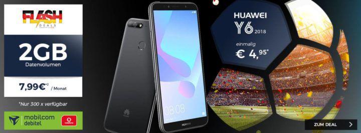 Huawei Y6 (2018) + Vodafone Allnet Flat mit 2GB Datenvolumen für 7,99€ mtl.