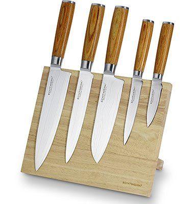 Echtwerk W DM 0377 2    Holz Magnet Messerblock inkl. 5 Dmaszener Messer für 109€ (statt 150€)