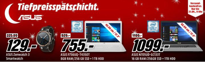 Media Markt ASUS Tiefpreisspätschicht: günstige  Notebooks, Monitore, Smartwatches & Smartphones