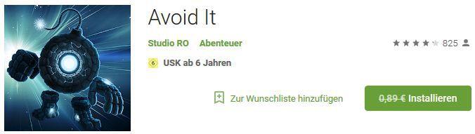 Avoid It (Android) gratis statt 0,89€