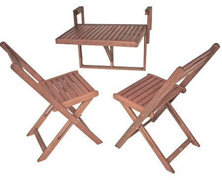 Balkon Set mit Klappstühlen und Hänge Balkontisch aus Holz für 49,99€ (statt 100€)
