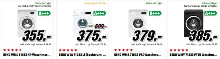 BEKO WML 61423 N Waschmaschine für 279€ und andere Beko Maschinen im Angebot