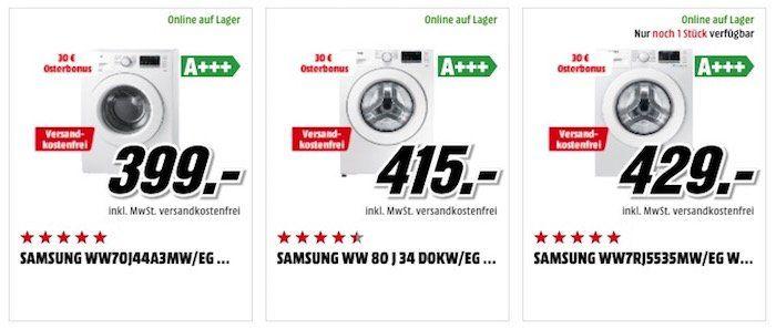 Samsung Waschmaschinen mit bis zu 200€ Sofort Rabatt   z.B. Samsung WW7RJ5535MW für 399€ (statt 459€)