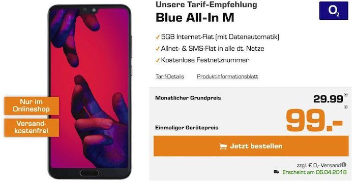 Knaller! Huawei P20 Pro für 99€ + o2 Blue All In M mit 5GB LTE für 29,99€ mtl. + ggf. gratis Bose Kopfhörer im Wert von 294€