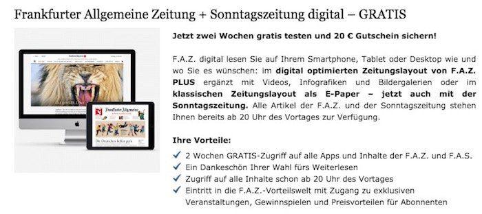 2 Wochen Frankfurter Allgemeine Zeitung + Sonntagszeitung digital gratis