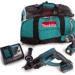 Makita Akku-Schlagbohrschrauber + Akku-Bohrhammer inkl. 2 x 4,0 Ah Akku, Bits und Tasche für 338,90€