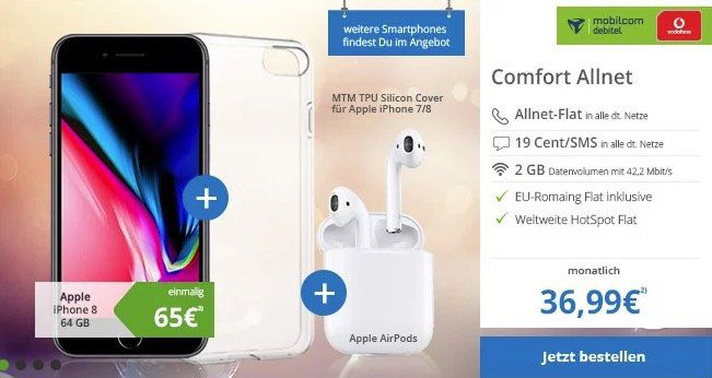 iPhone 8 + Apple Airpods für 65€ + Vodafone Flat mit 2GB für 36,99€ mtl.