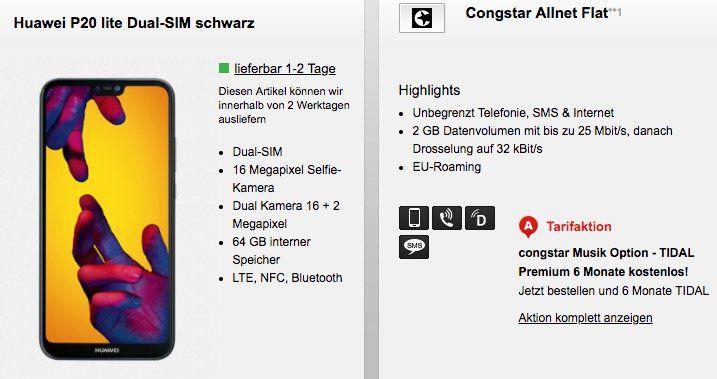 Huawei P20 lite + Telekom Allnet Flat mit 2GB für 20€ mtl.