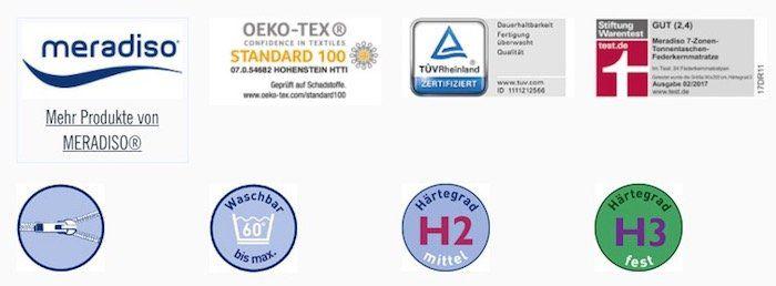 Meradiso 7 Zonen Tonnentaschen Federkernmatratze 90x200 cm (H2 und H3) für je 99,99€   Stiftung Warentest Gut!