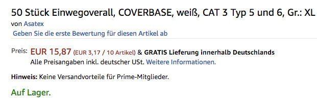 Abgelaufen! 50er Pack Einwegoverall Größe XL für 15,87€ (statt 127€)