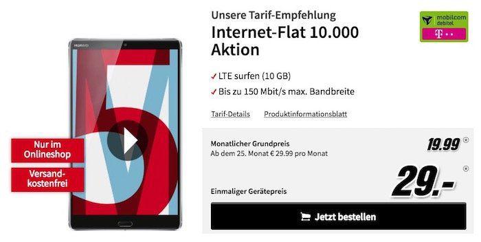 Huawei MediaPad M5 8,4 Zoll LTE Tablet für 29€ + Telekom 10GB LTE Datentarif für 19,99€ mtl.
